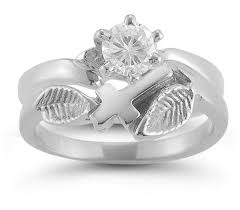 White Gold Cz Wedding Rings by Christian Cross Cz Bridal Wedding Ring Set In 14k White Gold