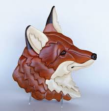 fox head intarsia wall hanging wooden animal wood carving red