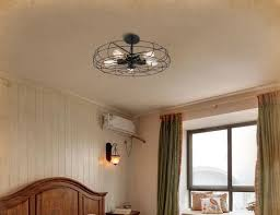 Caged Ceiling Fan With Light Lars Retro Caged Fan Lamp
