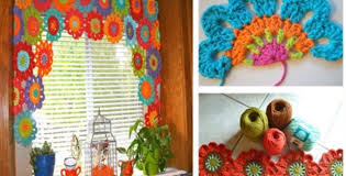 crocheted flower power valance for kitchen windows free pattern