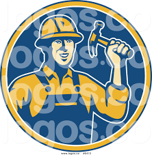 royalty free clip art vector logo of a construction worker holding