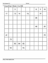 100s chart worksheets to teach counting