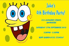 personalised spongebob squarepants invitations