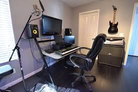 interior modern red accent home music recording studio inetrior