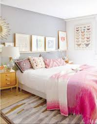 sweet pink and gold bedroom design light grey wall paint and solid