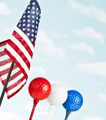 Blue White And Red Flags American Flag With Red White And Blue Golf Balls Stock Photo Istock