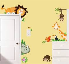 15 animal wall decals for nursery jungle height chart wall jungle wild animals wall art decals kids bedroom baby nursery stickers