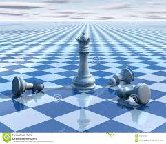 abstract blue background with chess board and blue sky stock