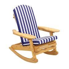 Rocking Chair Cushions White Garden Patio Rocking Chair With Blue U0026 White Striped Cushion