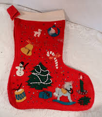 awesome vintage handmade felt christmas stocking beads feathers