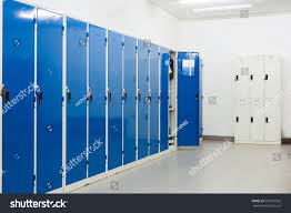 large blue lockers small white lockers stock photo 505707562