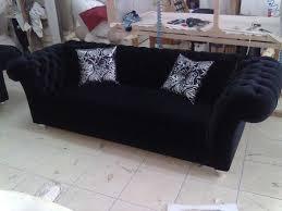 Chesterfield Black Sofa Chesterfield Sofa Black Fabric Classic Interior Design