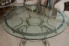 Round Glass Top Pedestal Table Table Comely Round Glass Top Dining Table With Attractive Wrought