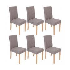 lot de 6 chaises de salle à manger en tissu gris pieds clairs