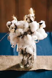cotton mason jar wedding centerpiece