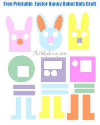 free printable easter bunny robot kids craft thrifty jinxy
