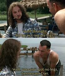 Forrest Gump Memes - forrest gump points out the obvious on lieutenant dan s imaginary