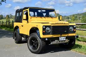 land rover yellow 1987 land rover defender 90 soft top in beluga yellow by arkonik