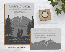 mountain wedding invitations mountain adventure inspired wedding stationery blue weddings