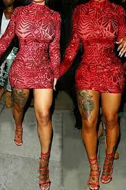 sequin patchwork red cotton blend sheath mini dress club dresses