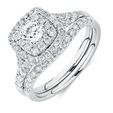bridal ring sets canada set with 1 18 carat tw of diamonds in 14ct white gold