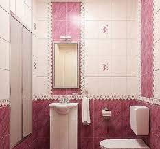 pink color small bathroom design with purple pink wall tiles and
