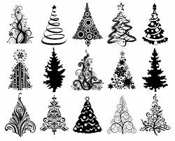 christmas graphic set of christmas trees vector graphic free