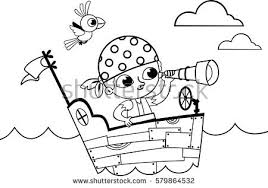 black white pirate coloring book stock vector 579864532