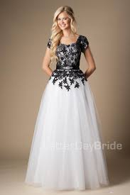 simple black and white long modest prom dresses with cap sleeves