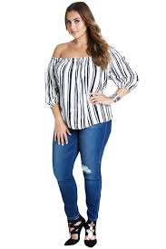 white black stripe off shoulder women plus size tops online