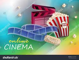 3d online cinema on color background stock vector 643283095