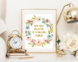 Gold Home Decor Accessories Inspirational Quote You Are Capable Of Amazing Things Gold