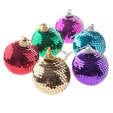 gisela graham pack of 6 sequin bauble decorations