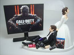 gamer wedding cake topper new gamer cod op 3 ps4 brown hair and groom wedding