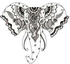 henna style elephant tattoo transparent png stickpng