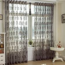 Lace Curtain Lace Curtain In Gray Color Jacquard Craft Sheer Curtain