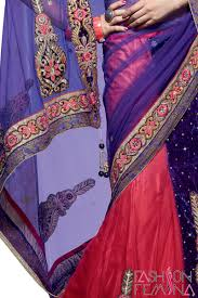 deep purple color divine deep purple and red color floral embroidery saree with