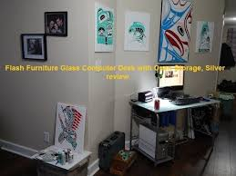 Glass Desk With Storage Flash Furniture Glass Computer Desk With Open Storage Silver