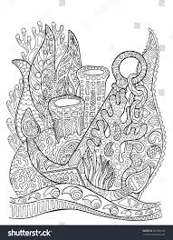 anchor in coral reef coloring page underwater vector