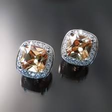 cubic zirconia earrings chagne cushion cz earrings zoran designs jewelry