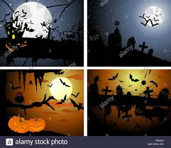halloween castle background set of halloween greeting cards elegant design with pumpkin moon