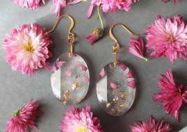 Real Rose Petals Real Flower Petals And Gold Flakes In Resin Jewelry By Lyuda