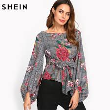 belted blouse shein blouses sleeve multicolor boat neck exaggerated