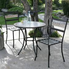 Round Outdoor Bistro Chair Cushions by Dining Room Mosaic Bistro Table With Black Legs And Double Chairs