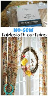 Homemade Curtains Without Sewing No Sew Tablecloth Curtains Tablecloth Curtains Window And Craft