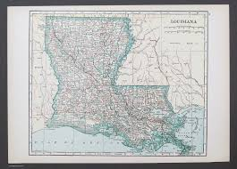Louisiana Map Cities by States H M Vintage Maps