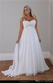 cheap plus size beach wedding dress 2015 straps pleats chiffon
