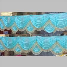 Curtain Drapes For Weddings Aliexpress Com Buy New Luxury Tiffany Blue Ice Silk Swag For