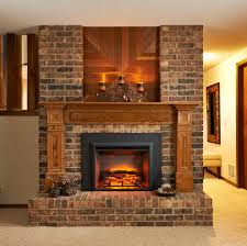 chic electric fireplace insert in dining room traditional with
