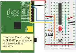 using the mcp23017 port expander with wiringpi2 to give you 16 new